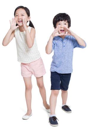 pass away: Happy children shouting