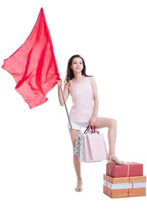 Young woman shopping with a red flag