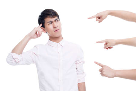 man scolding: Hands pointing at a young man LANG_EVOIMAGES