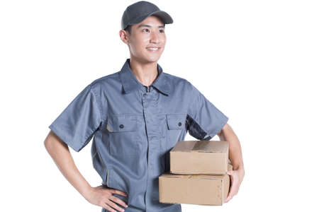 cardboard only: Delivery person delivering package