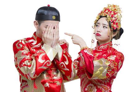 embarrassment: Humorous bride and groom