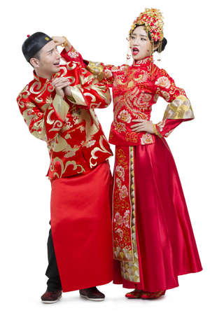 Humorous bride and groom