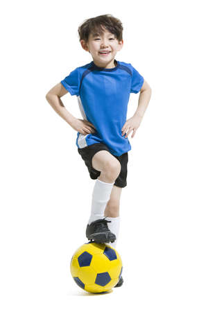 Cute boy playing soccer ball LANG_EVOIMAGES
