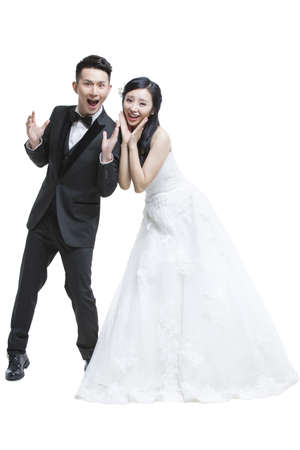 gasping: Shocked bride and groom