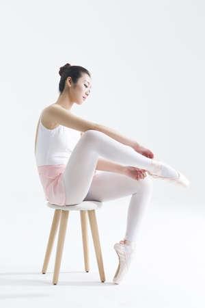 Bailarín, atar, arriba, pointe, zapatos