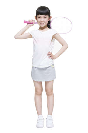 Cute girl playing badminton