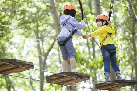 bonding rope: Happy children playing in tree top adventure park