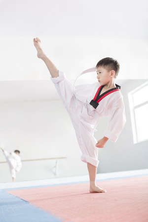 Cute boy practicing Tae Kwon Do LANG_EVOIMAGES