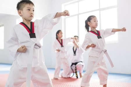 Young instructor teaching children Tae Kwon Do LANG_EVOIMAGES