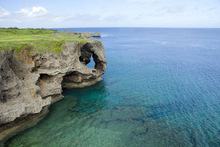 Blue ocean and cliff, Okinawa Prefecture, Japan