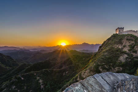 hebei province: Jinshanling Great Wall at Sunset,Hebei Province,China