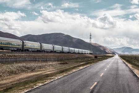Qinghai-Tibet railway and highway, China