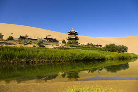crescent: Crescent lake in Dunhuang, China LANG_EVOIMAGES