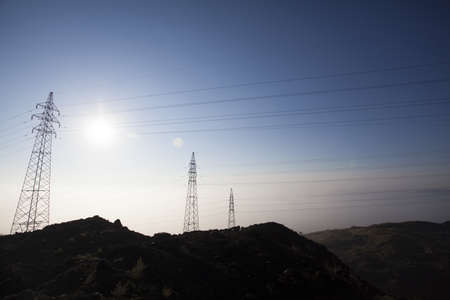 power cables: Electricity pylon in Inner Mongolia province, China