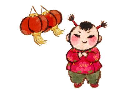 Söt tjej med röda lyktor hälsning för kinesiskt nyår