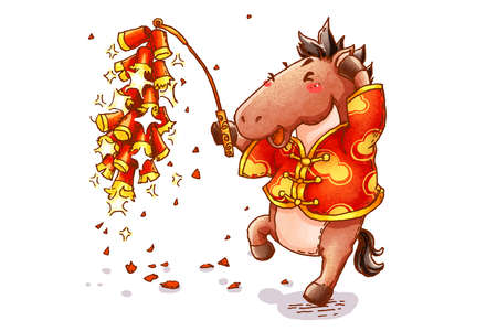tang: Cute horse with firework celebrating Chinese New Year LANG_EVOIMAGES