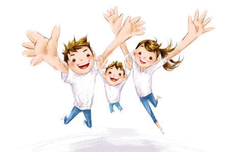 three generation: Happy family jumping