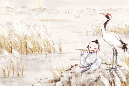Boy fluting in reed marshes