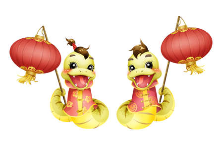 year of the snake: Cartoon snake and lantern for Chinese year of snake