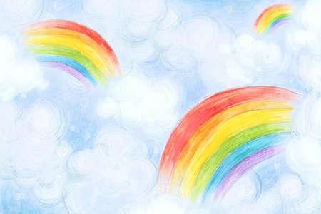 Rainbows in sky