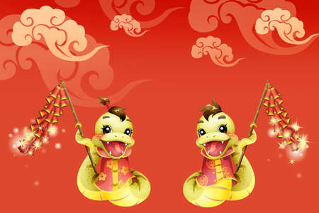year of the snake: Cartoon snake and firecrackers for Chinese year of snake