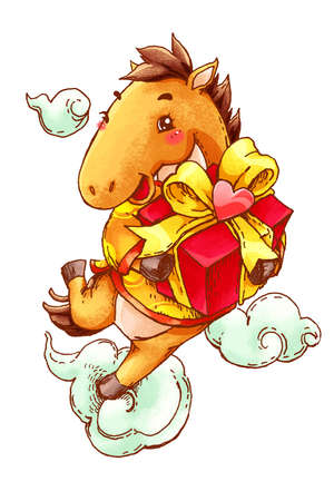 Cute horse with gift celebrating Chinese New Year