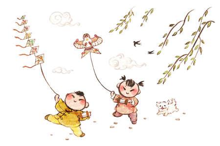 full willow: Happy children flying kites in spring