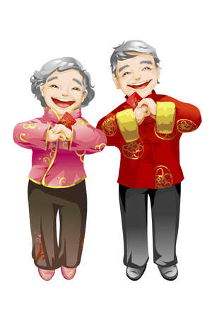 senior couple offering chinese new year greetings stock photo 75122545