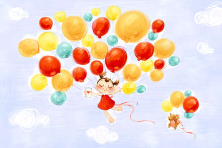 multi age: Little girl and puppy flying in the sky with balloons LANG_EVOIMAGES