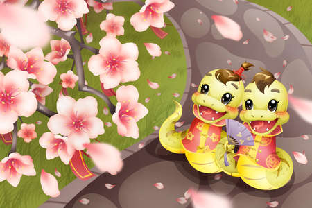 year of the snake: Cartoon snake and peach blossom for Chinese year of snake