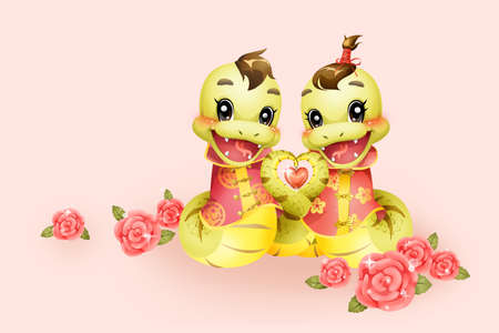year of the snake: Cartoon snake in love for Chinese year of snake