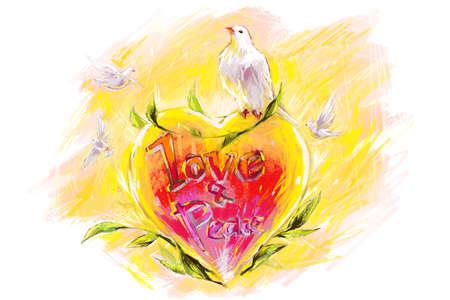 Pigeons and heart shape