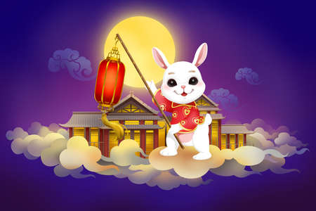 Full moon and rabbit for Chinese Mid Autumn Festival