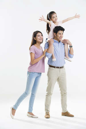girl in full growth: Cheerful young family