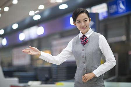 Smiling airline stewardess