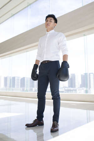 boxing day: Young businessman with boxing gloves