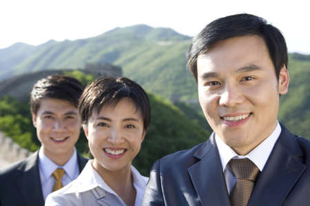 mutianyu: Team of businesspeople on the Great Wall  LANG_EVOIMAGES