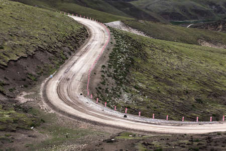swerving: Dirt road in Tibet, China