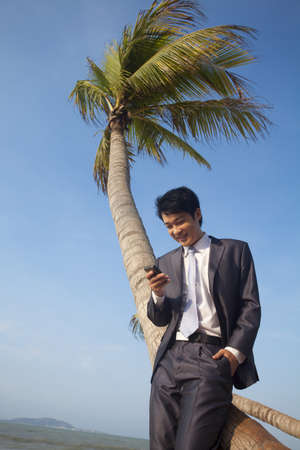 context: Businessman with his mobile phone on the beach LANG_EVOIMAGES