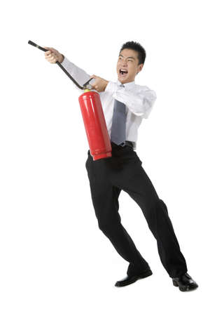 fireman: Businessman with Fire Extinguisher