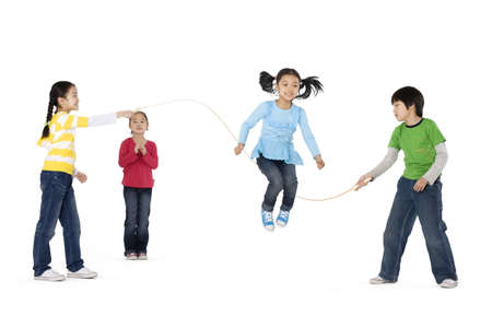 cheer full: Group of friends playing jump rope