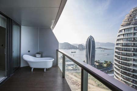 Balcony overlooking sea, China