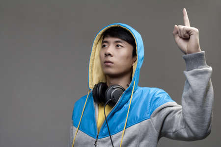 upraised: Guy in Hoodie with Fist Upraised