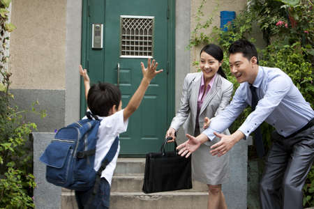 executive apartment: Schoolboy running to his parents