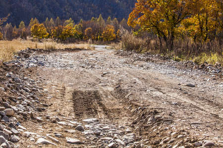 Country dirt road with many stones,China LANG_EVOIMAGES