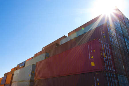large group of business people: Cargo containers in shipping dock