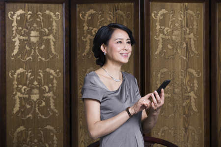 screen partition: Elegant woman with mobile phone
