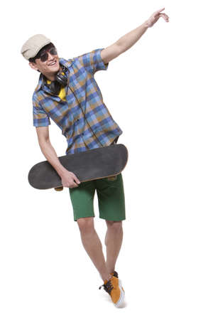short shorts: Cool young man with skateboard