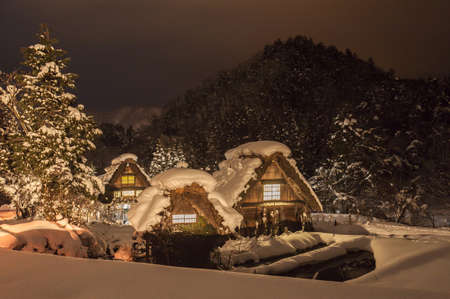 Shirakawa Light up in the Snow, Ono-gun, Gifu Prefecture, Japan LANG_EVOIMAGES
