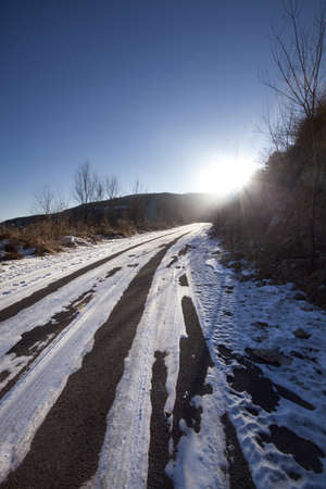 swerving: Winding road leading through hills in winter,Beijing China LANG_EVOIMAGES